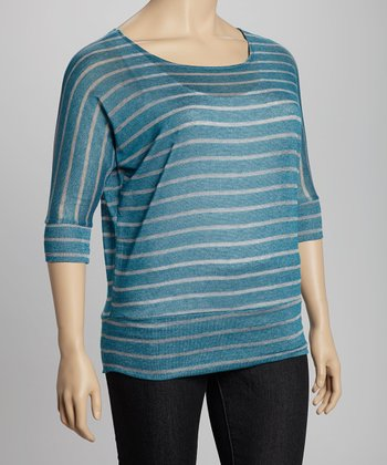Jade & Heather Grey Thin Stripe Dolman Top - Plus