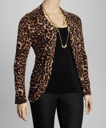 Brown Leopard Open Cardigan - Plus