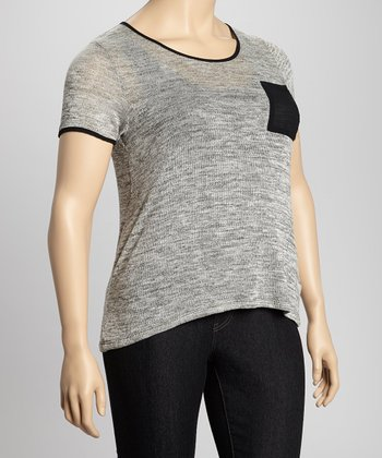 Charcoal & Black Pocket Top - Plus