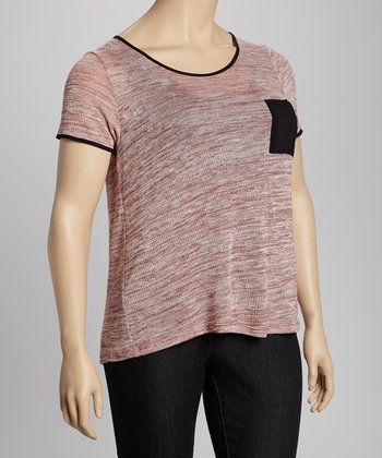 Heather Burgundy & Black Pocket Top - Plus