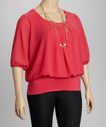 Dark Coral Pleated Top - Plus