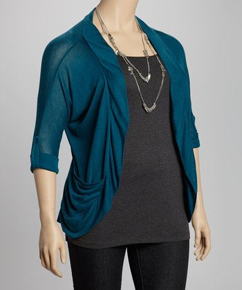 Teal Tab Sleeve Open Cardigan - Plus