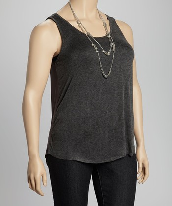 Charcoal Sheer Back Tank - Plus