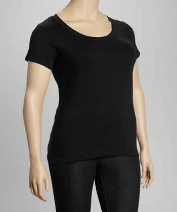 Black Scoop Neck Tee - Plus