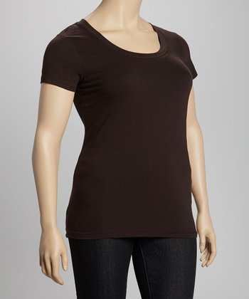 Dark Brown Scoop Neck Tee - Plus