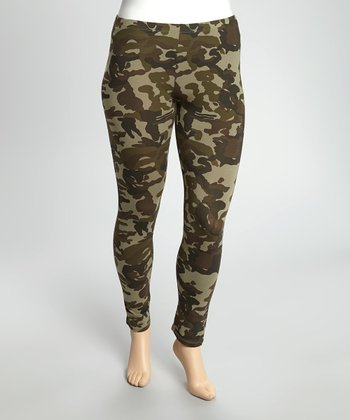Dark Olive Camo Leggings - Plus