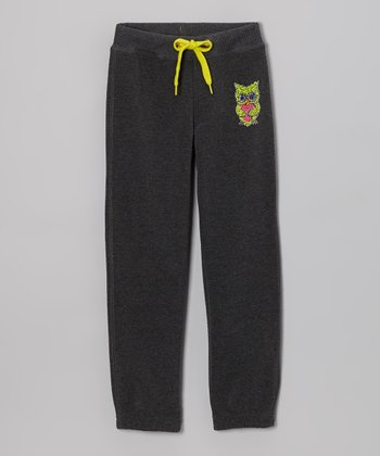 Gray Owl Skinny Warm-Up Pants - Girls