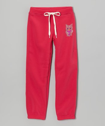 Fuchsia Owl Skinny Warm-Up Pants - Girls