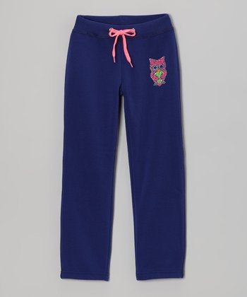 Navy Owl Skinny Warm-Up Pants - Girls