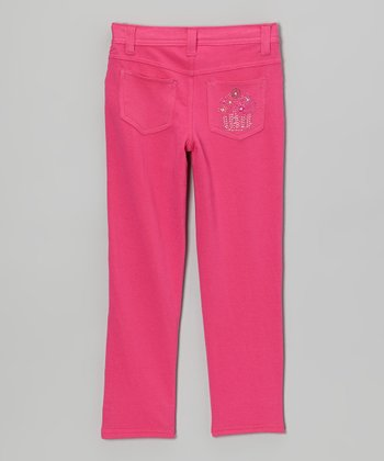 Berry Rhinestone Skinny Jeans - Toddler & Girls