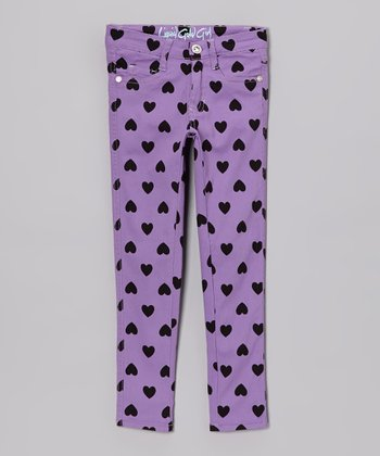 Lavender Heart Skinny Jeans - Toddler & Girls