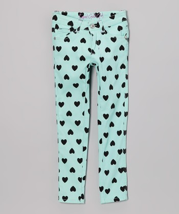 Mint Heart Skinny Jeans - Toddler & Girls