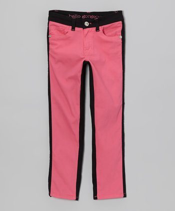Hot Pink & Black Color Block Skinny Jeans - Girls