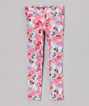 Pink Floral Skinny Jeans - Toddler & Girls