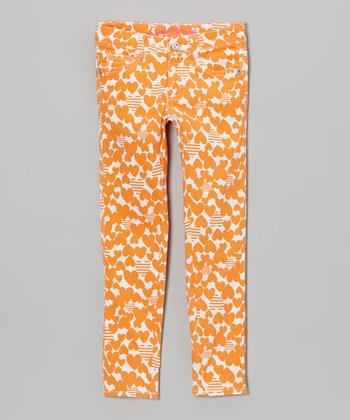 Orange Hearts & Stripes Skinny Jeans - Toddler & Girls