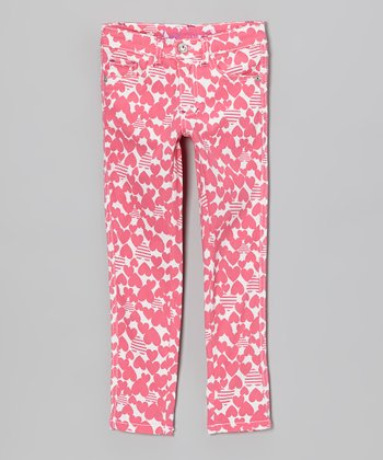 Pink Hearts & Stripes Skinny Jeans - Toddler & Girls