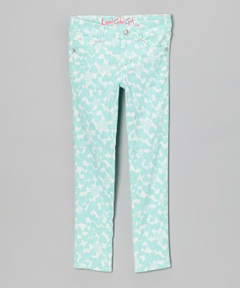 Mint Hearts & Stripes Skinny Jeans - Toddler & Girls