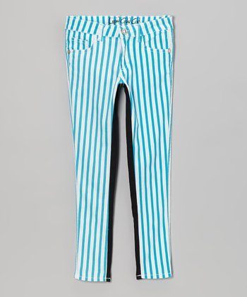 Aqua Stripe & Black Color Block Skinny Jeans - Girls