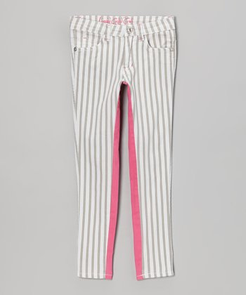 Silver Stripe & Pink Color Block Skinny Jeans - Girls