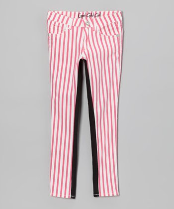 Pink Stripe & Black Color Block Skinny Jeans - Girls