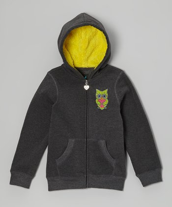 Gray Rhinestone Owl Zip-Up Hoodie - Girls