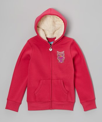 Fuchsia Rhinestone Owl Zip-Up Hoodie - Girls