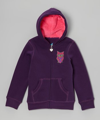 Plum Owl Sherpa Zip-Up Hoodie - Girls