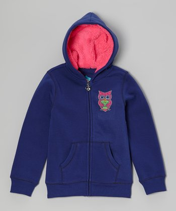 Navy Rhinestone Owl Zip-Up Hoodie - Girls