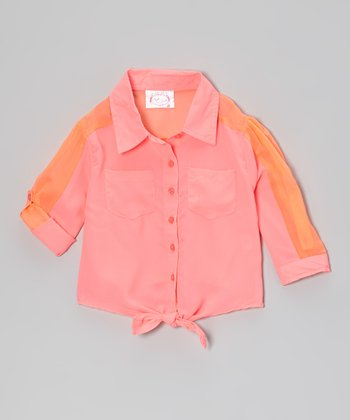 Coral Front-Tie Colorblock Button-Up - Girls