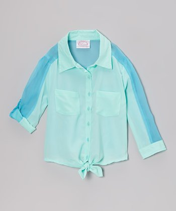 Mint Front-Tie Color Block Button-Up - Girls