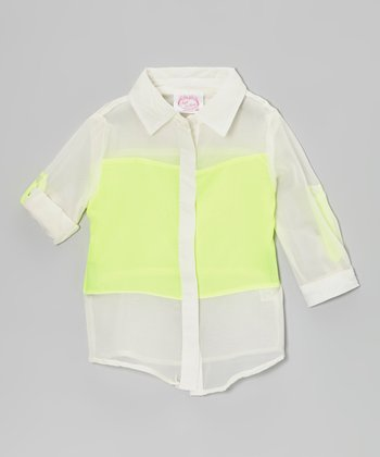 Yellow Color Block Button-Up - Girls