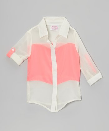 Coral Color Block Button-Up - Girls