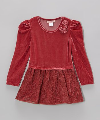 Light Wine Lace Velour Dress - Girls