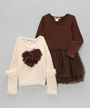 Brown Tulle Dress & Ivory Heart Sweater - Toddler & Girls