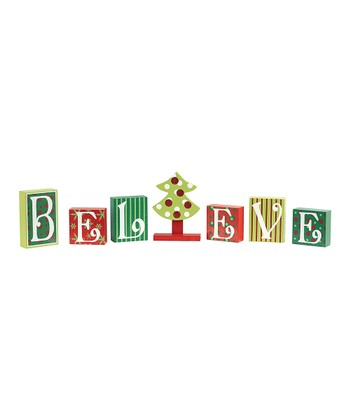 Christmas Tree Patchwork 'Believe' Block Set