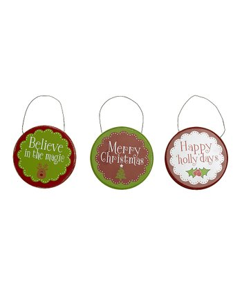 Christmas Messages Round Ornament Set
