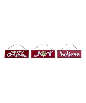 Christmas Messages Rectangular Ornament Set