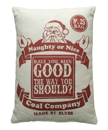 'Naughty or Nice' Linen Throw Pillow