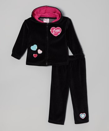 Black 'Love' & Hearts Zip-Up Hoodie & Pants - Infant