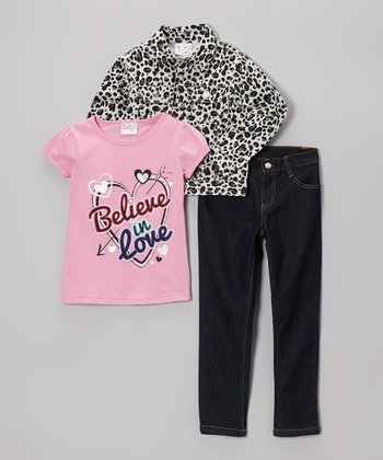 Pink 'Believe in Love' Leopard Pants Set - Toddler & Girls