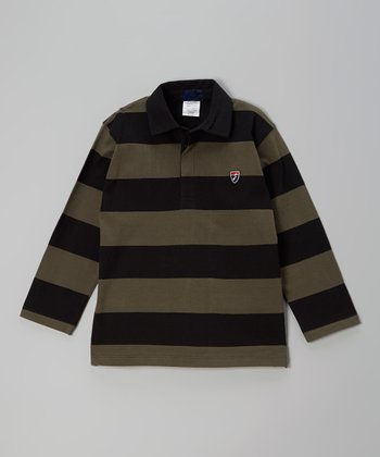 Black & Khaki Stripe Polo - Toddler & Boys