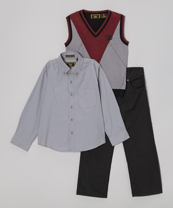 Gray & Red Argyle Sweater Vest Set - Toddler