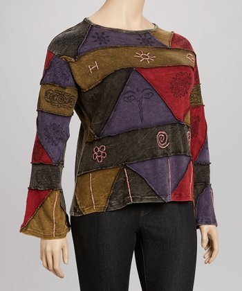 Green & Dark Red Triangle Top - Women & Plus