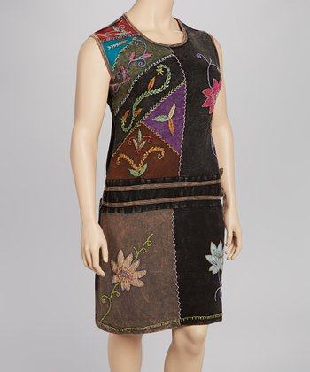 Black Lily Drop-Waist Sleeveless Dress - Plus