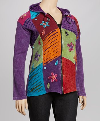 Purple Floral Ripplestitch Zip-Up Hoodie - Plus