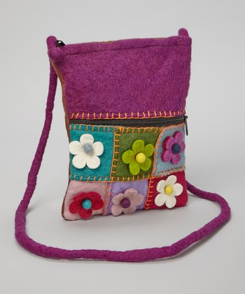 Violet Flower Patchwork Wool Crossbody Bag