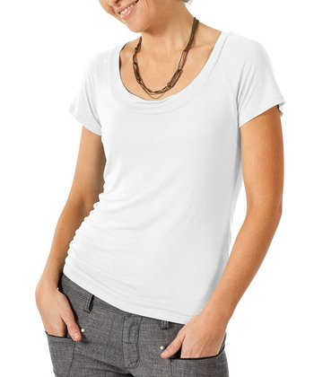 White Ellipse Linen-Blend Tee - Women