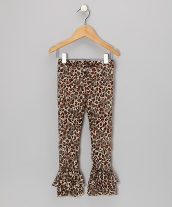 Brown Leopard Ruffle Leggings - Infant, Toddler & Girls