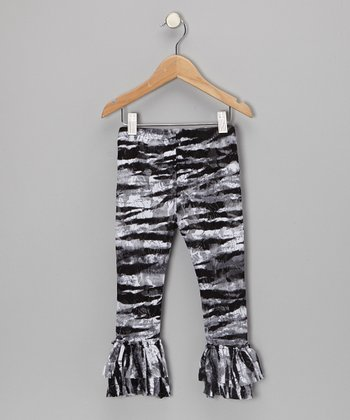 Black Zebra Ruffle Leggings - Infant & Toddler