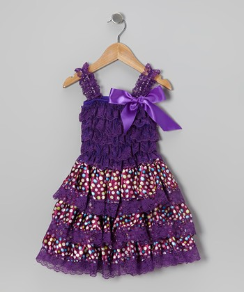 Purple Polka Dot Tiered Ruffle Dress - Infant, Toddler & Girls